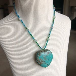 Jewelry - Sterling Silver Large Turquoise Heart Necklace